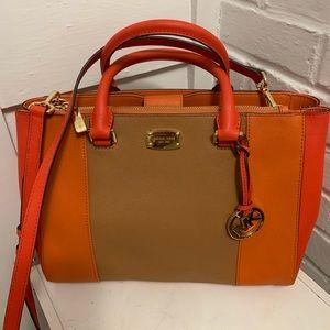   Micheal Kors Kellen Bag in Tangerine and tan